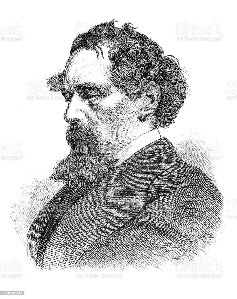 Charles Dickens vector art illustration