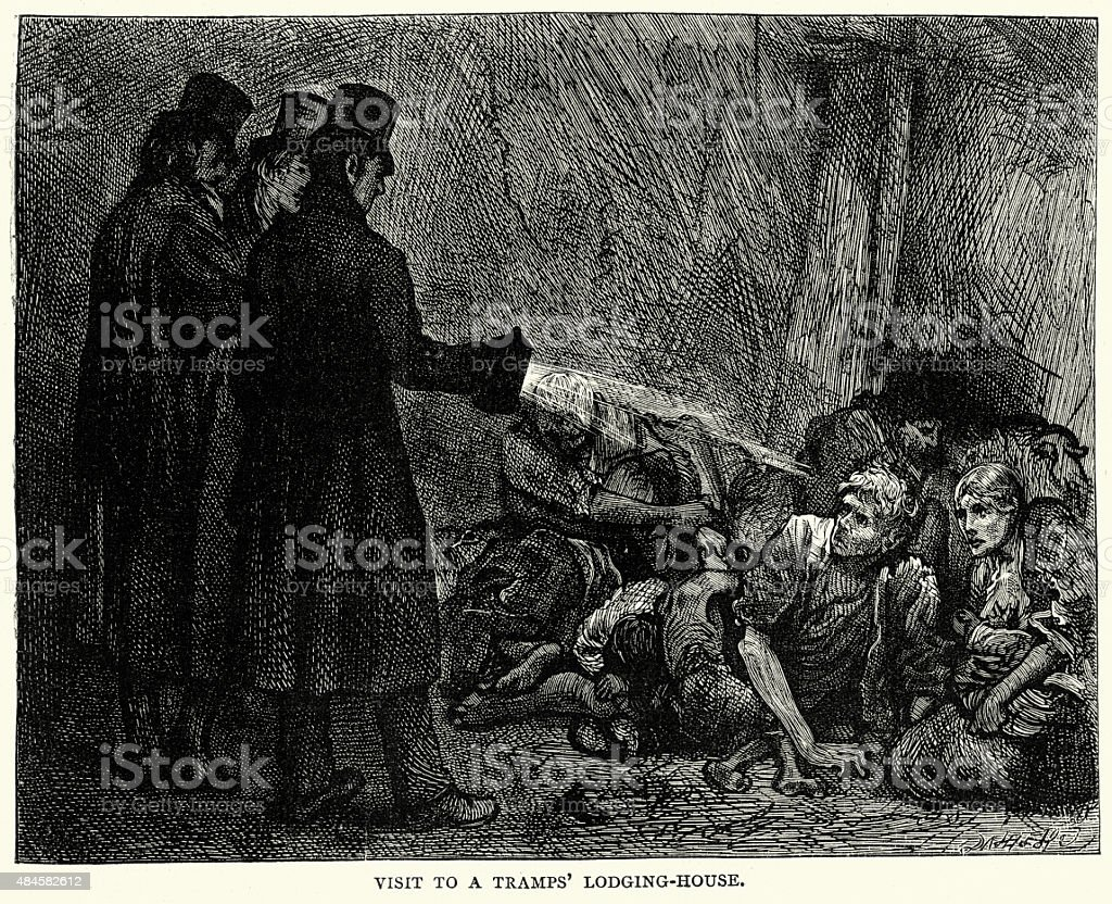 Charles Dickens - Visit to a Tramps Lodging House vector art illustration