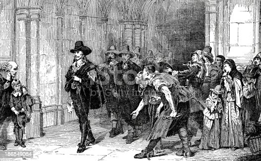 Vintage engraving from 1879 after the painting by Laslett Pott showing King Charles the First leaving Westminster Hall after confrounting Parliament++Inspector: Info about source material uploaded as property release++