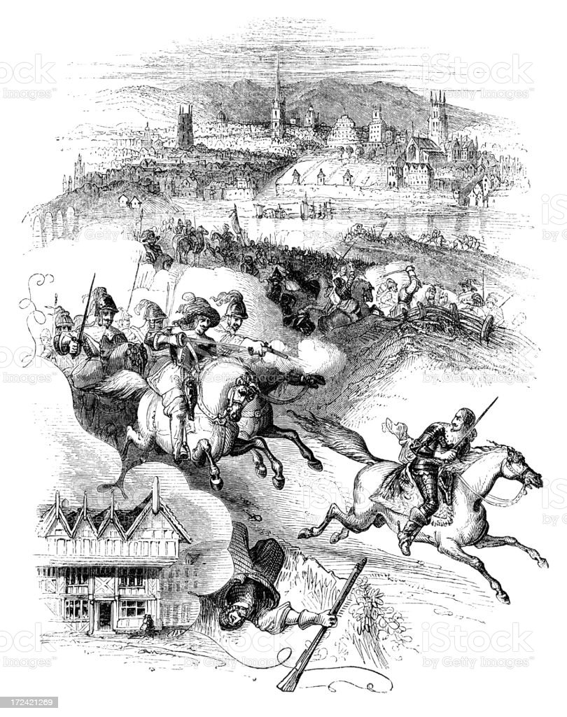 Charles II's escape after the Battle of Worcester (Victorian woodcut) royalty-free stock vector art