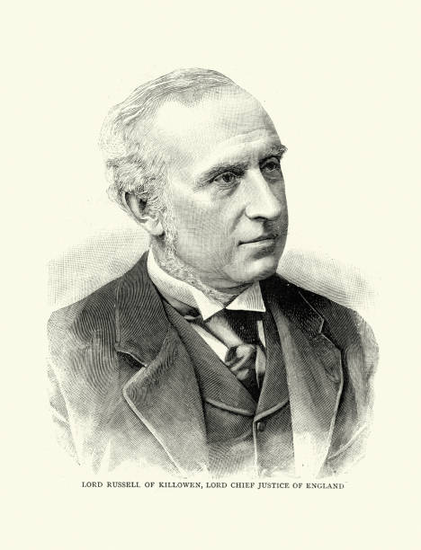 Charles Russell, Baron Russell of Killowen Vintage engraving of Charles Russell, Baron Russell of Killowen (10 November 1832 – 10 August 1900) was an Irish statesman of the 19th century, and Lord Chief Justice of England. chief justice stock illustrations