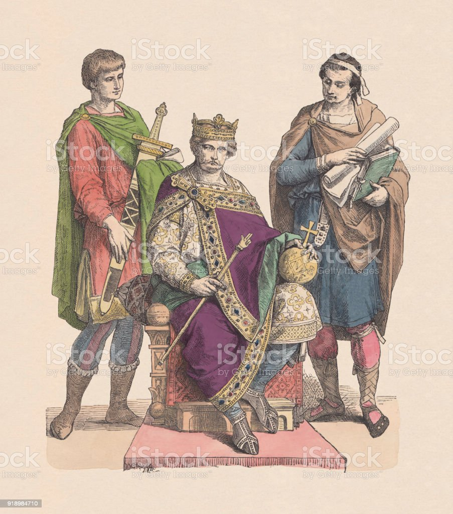 Charles the Bald (823-877), Holy Roman Emperor, published c. 1880 vector art illustration