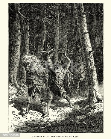 Vintage engraving of Charles VI of France in Forest of Le Mans. As the king and his escort were traveling through the forest near Le Mans on a hot August morning, a barefoot leper dressed in rags rushed up to the King's horse and grabbed his bridle.