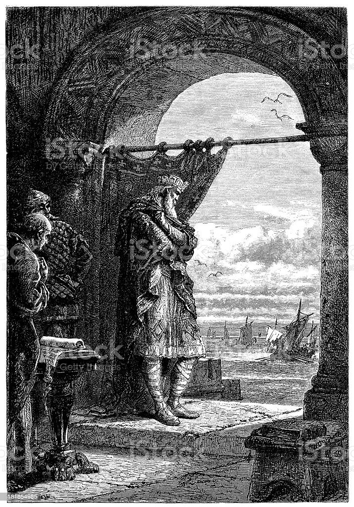 Charles Watches The Norsemen Coming royalty-free stock vector art