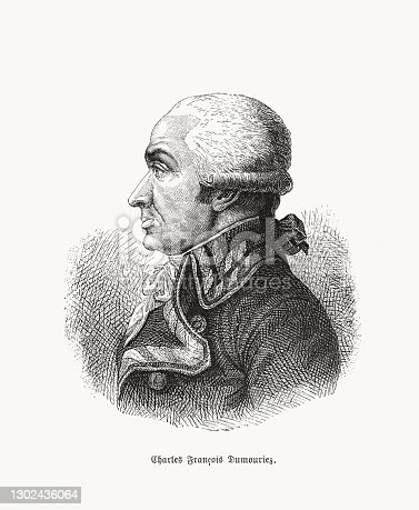 Charles-François du Périer Dumouriez (1739 - 1823) - French general during the French Revolutionary Wars. He later left the Revolutionary Army and became a royalist schemer and advisor to the British government during Napoleon's reign. Wood engraving, published in 1893.