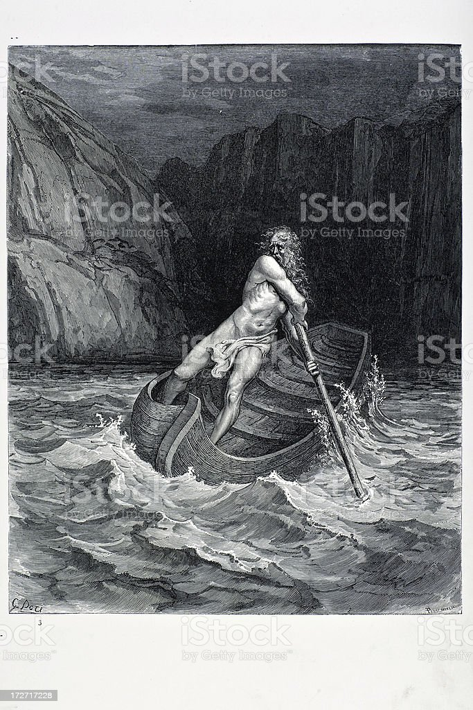 Charon the Ferryman of Hell royalty-free stock vector art