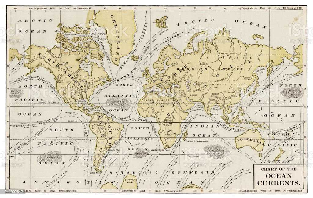 Chart of ocean currents 1889