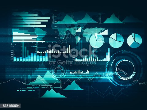 Abstract business chart with uptrend line graph, bar chart and diagram in bull market on dark blue background with red rose spot.