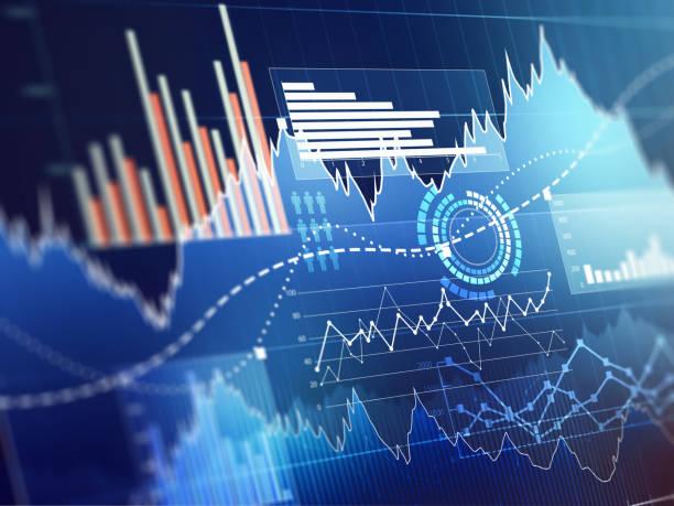 ilustrações, clipart, desenhos animados e ícones de gráfico com o gráfico de linha de tendência de alta, gráfico de barras e diagrama de mercado de touro em fundo azul escuro - gerente de contas