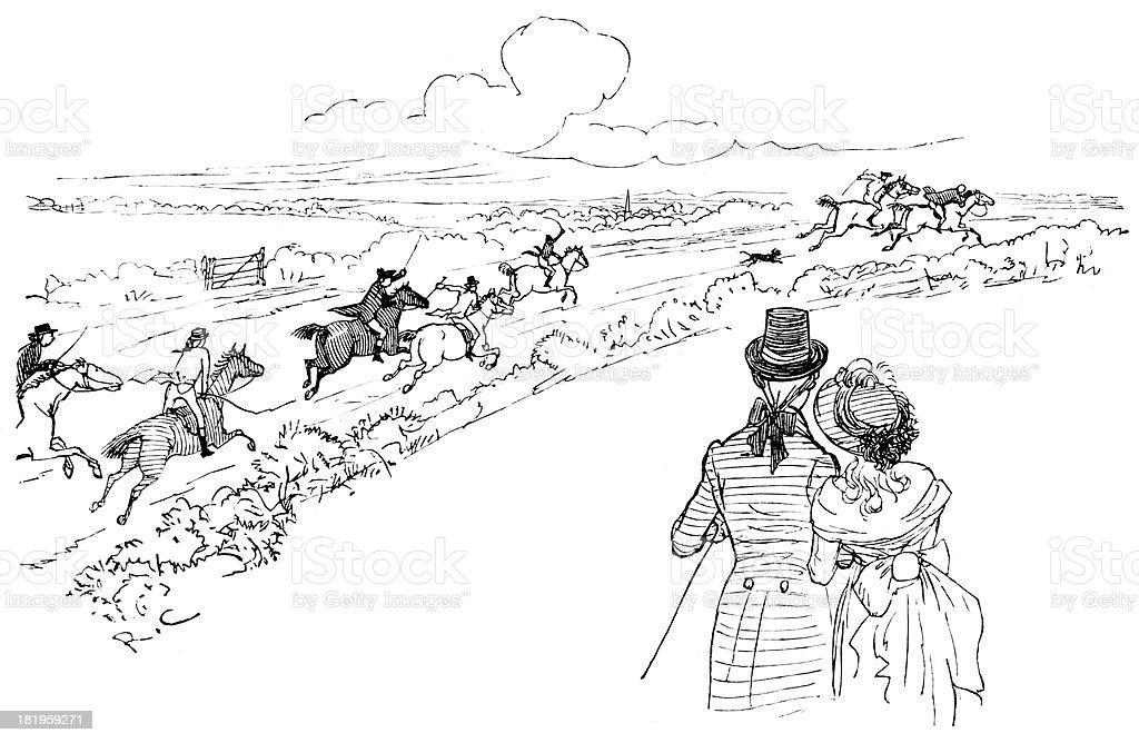 Chasing the runaway riders royalty-free stock vector art