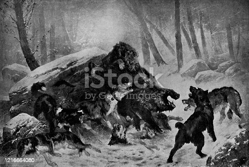 istock Chasse au Sanglier, The Boar Hunt by Joseph Emile Gridel - 19th Century 1216664080
