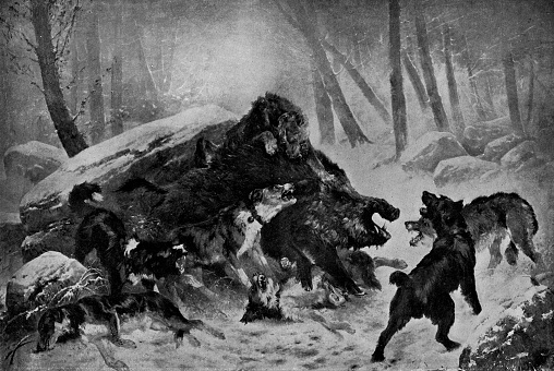 Chasse au Sanglier, The Boar Hunt by Joseph Emile Gridel - 19th Century