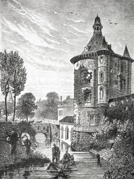 Chateau de Sainte Genevieve des Bois in 1873 engraving Chateau de Sainte Genevieve des Bois in the 19th century from the 1873 book 'the Earth and her People bois stock illustrations