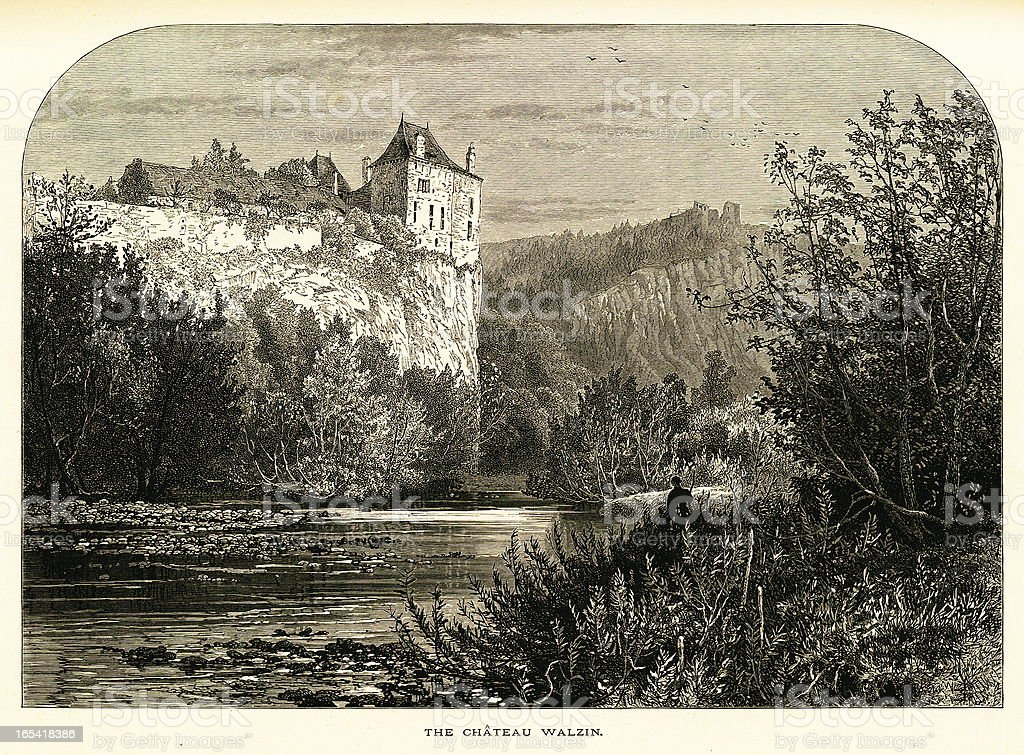 Chateau de Walzin, Dinant, Belgium (antique wood engraving) royalty-free chateau de walzin dinant belgium stock vector art & more images of antique