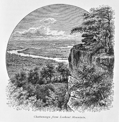 Lookout Mountain in Chattanooga, Tennessee, during the 1800s. Illustration published in The New Eclectic History of the United States by M. E. Thalheimer (American Book Company; New York, Cincinnati, and Chicago) in 1881 and 1890. Copyright expired; artwork is in Public Domain.