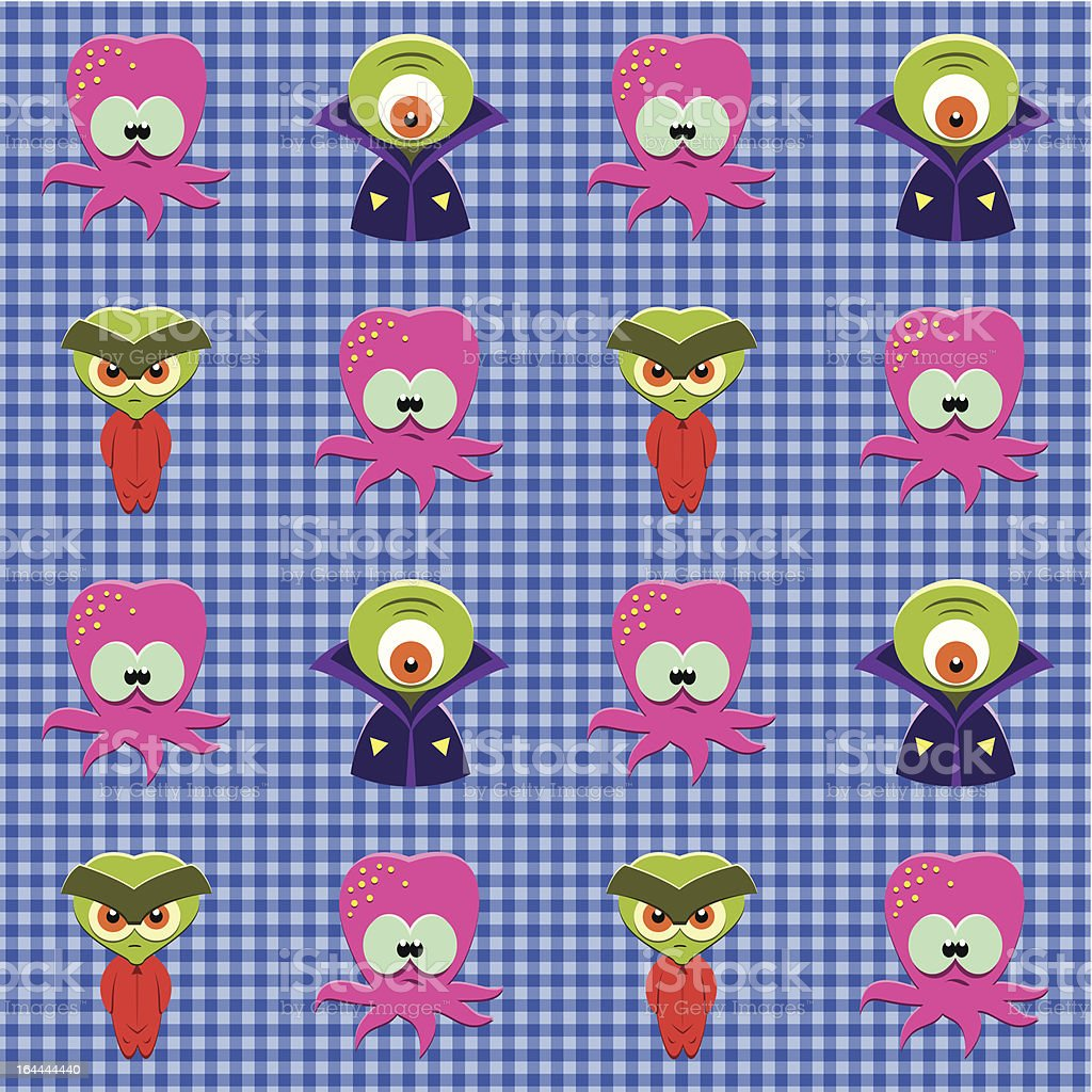Checked pattern with aliens. royalty-free stock vector art