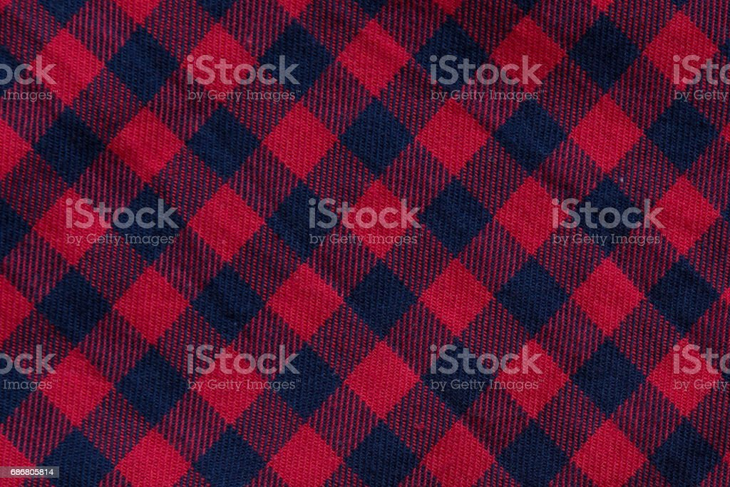Checkered cloth texture with red and blue stripes vector art illustration