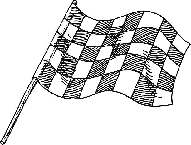 Checkered Flag Drawing Hand-drawn vector drawing of a Checkered Flag. Black-and-White sketch on a transparent background (.eps-file). Included files: EPS (v8) and Hi-Res JPG. motor sport stock illustrations