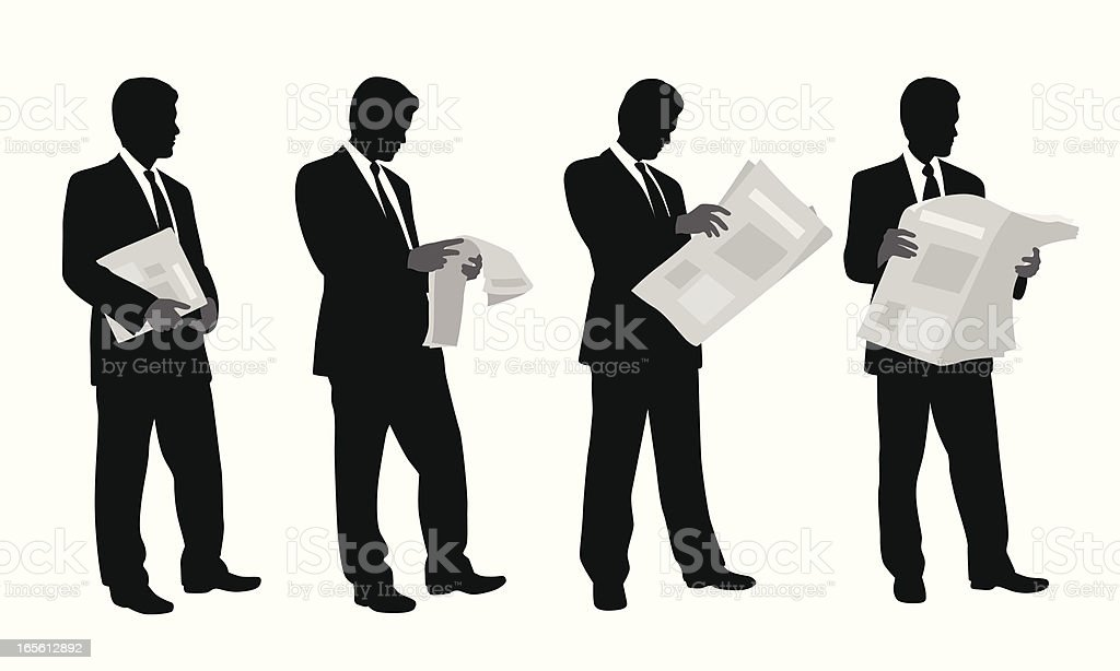 Checking The News Vector Silhouette royalty-free checking the news vector silhouette stock vector art & more images of adult