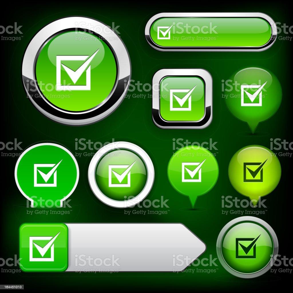 Checkmark high-detailed web button collection. royalty-free stock vector art