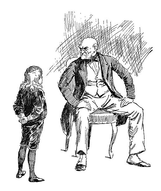 cheeky victorian child offending an old man - old man sitting chair drawing stock illustrations, clip art, cartoons, & icons