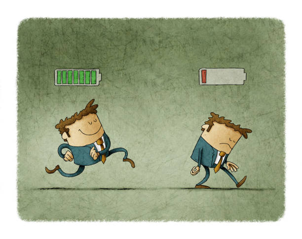 Cheerful businessman with high full level energy battery green and tired businessman with low battery red color. Business concept. Illustration vector art illustration