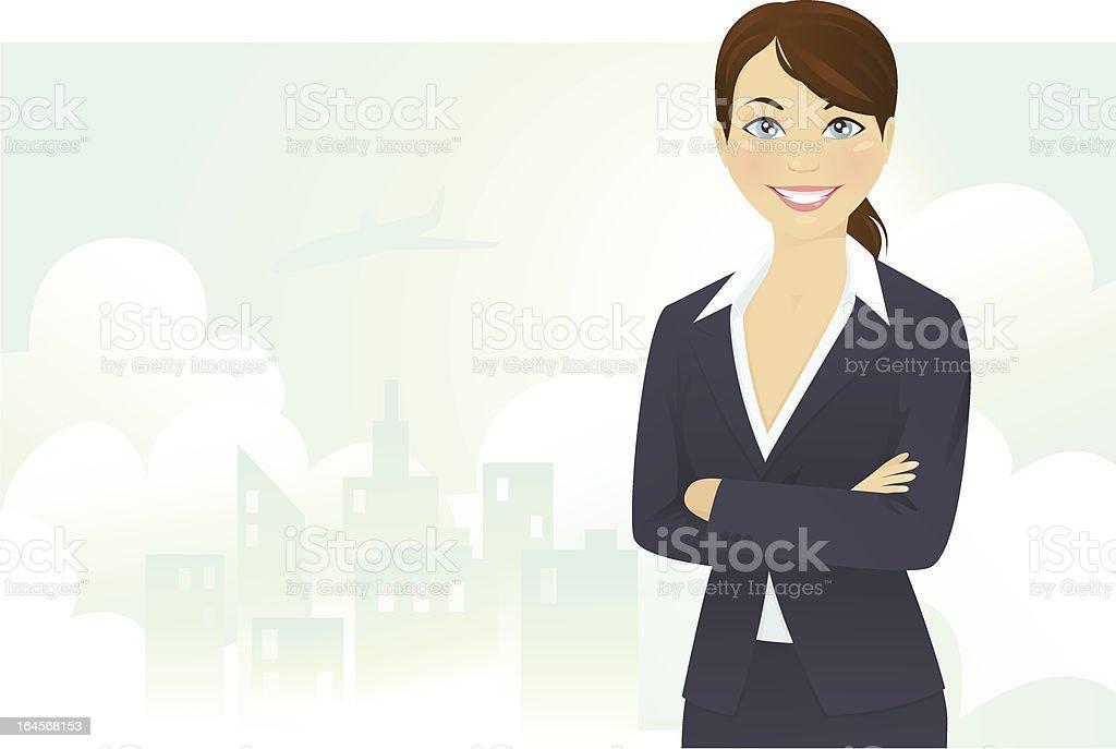 Cheerful businesswoman vector art illustration
