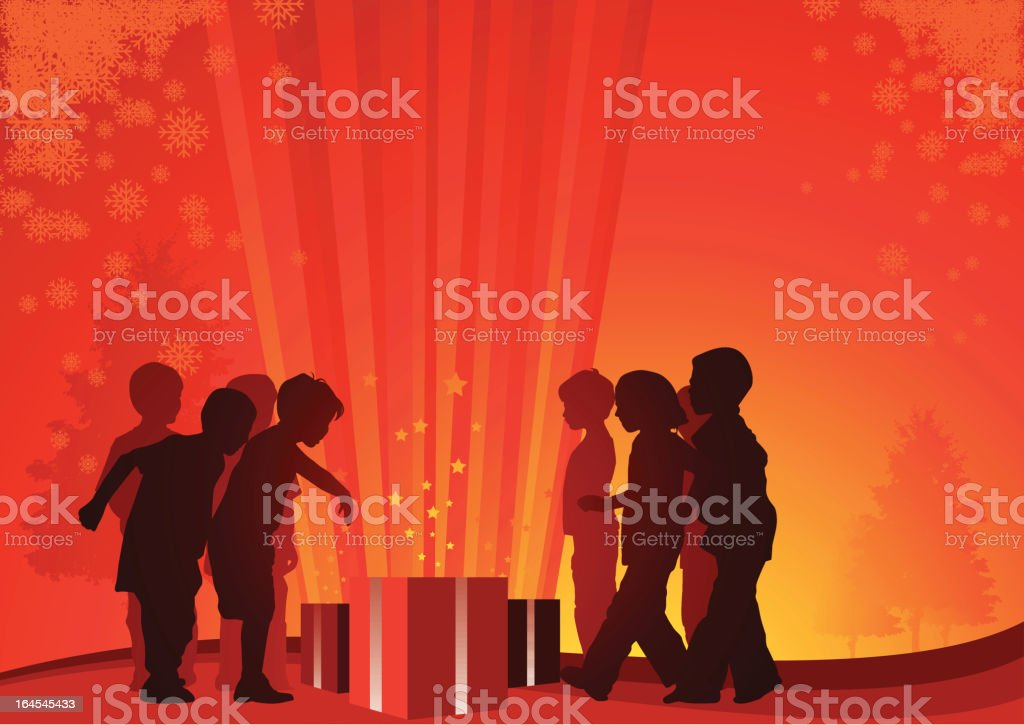 Cheerful children are around shiny christmas gift boxes with curiosity vector art illustration