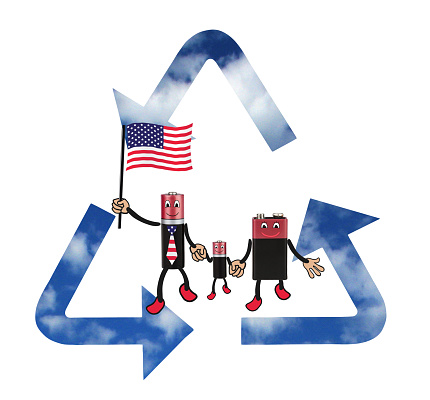 Cheerful family batteries with USA flag  - mom, dad, son...  Environmentally friendly energy sources, recycling, battery, humor, white background, isolated, montage