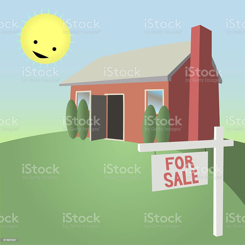 Cheerful House For Sale vector art illustration