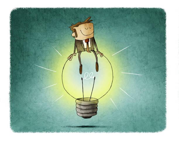 Cheerful man sitting on top of a big light bulb. idea and creativity concept. vector art illustration