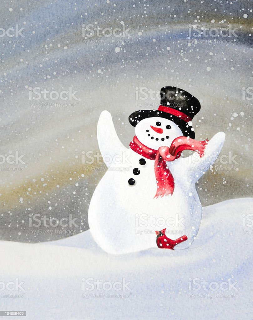Cheerful Snowman and Cardinal Friend royalty-free stock vector art
