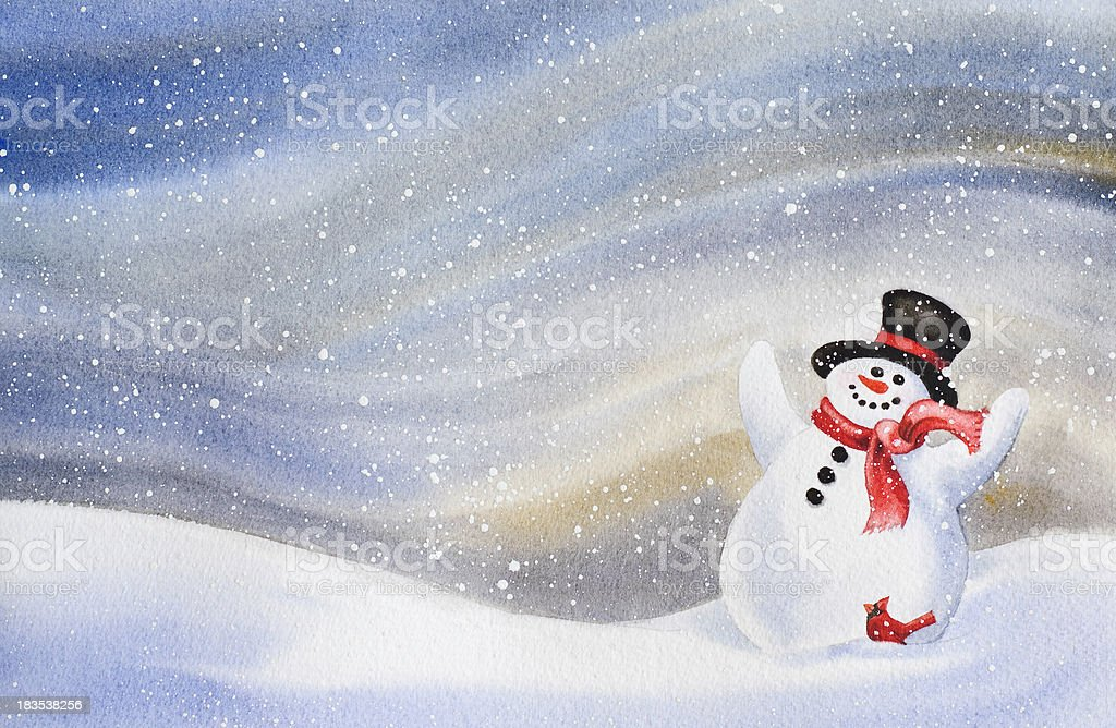 Cheerful Snowman Background vector art illustration