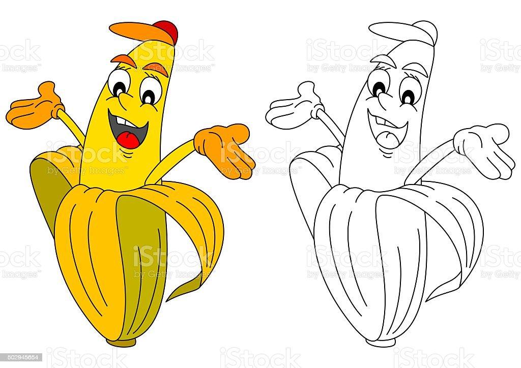 Ilustración de Alegre Amarillo Banana Como Un Libro Para Colorear ...