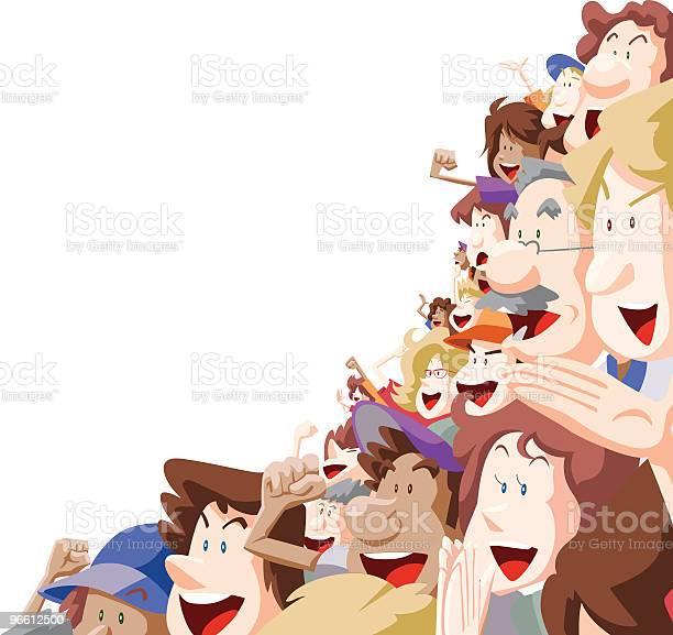Радость Толпы — стоковая векторная графика и другие изображения на тему Большая группа людей