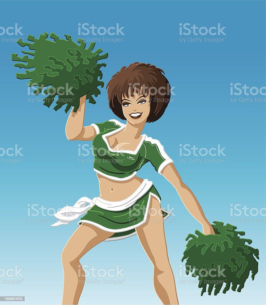 Cheerleader Green vector art illustration