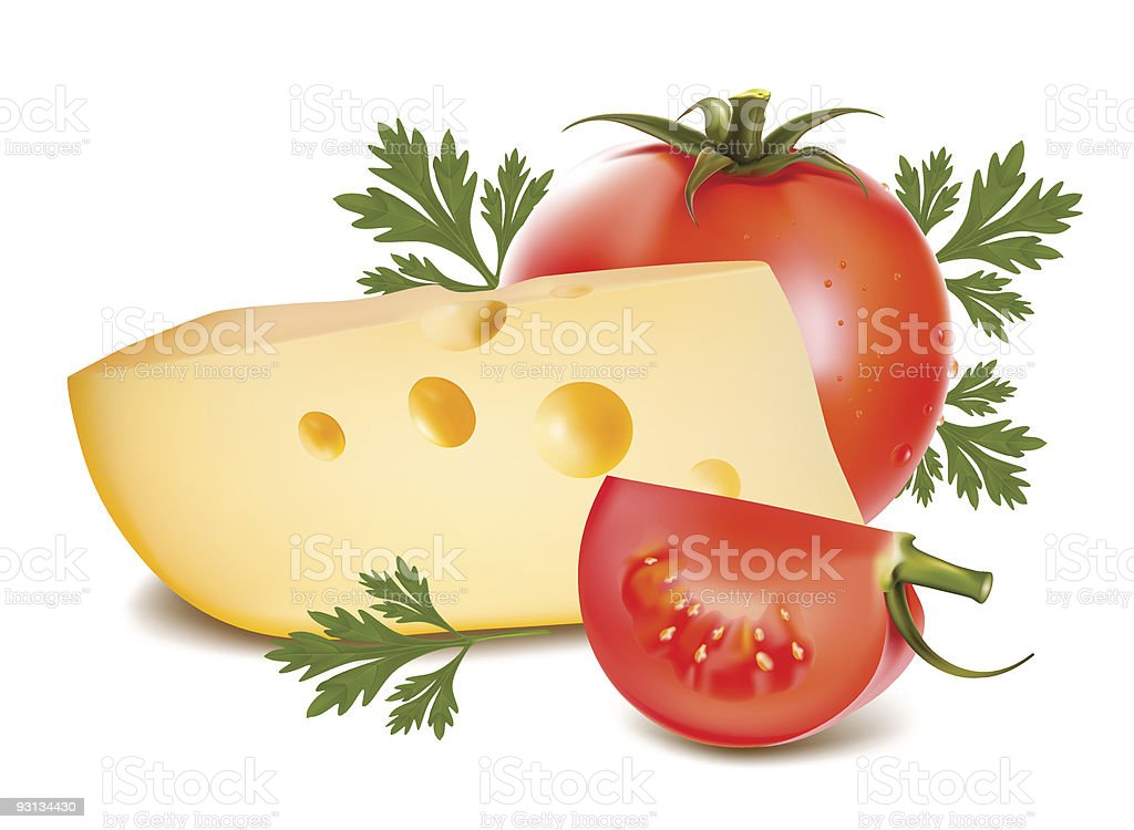 Cheese with ripe tomato and parsley. royalty-free stock vector art