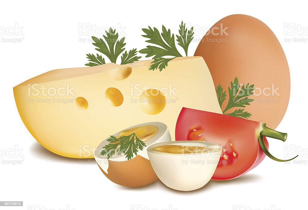 Cheese with tomato and egg. royalty-free stock vector art