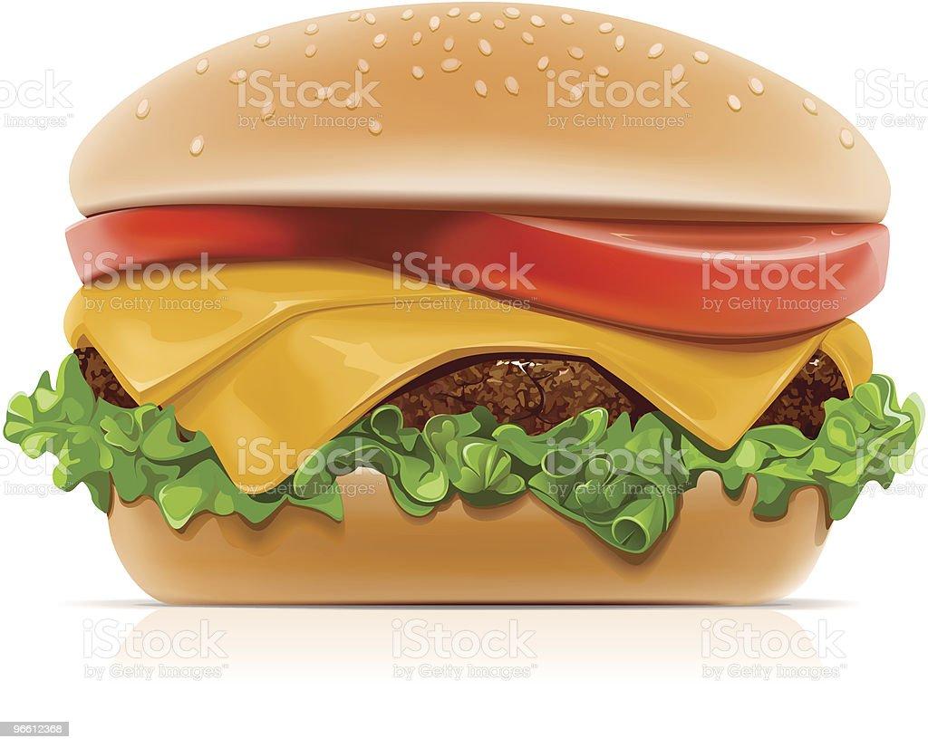 Hamburguesa con queso - arte vectorial de Aderezo libre de derechos