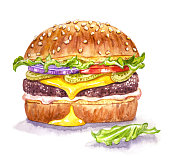 istock Cheeseburger, watercolor illustration on white background 1283503789