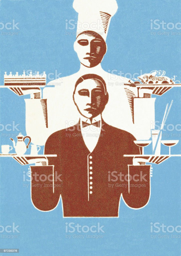 Chef and Waiter royalty-free stock vector art