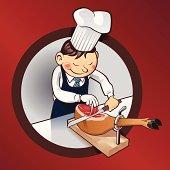 Chef cutting ham