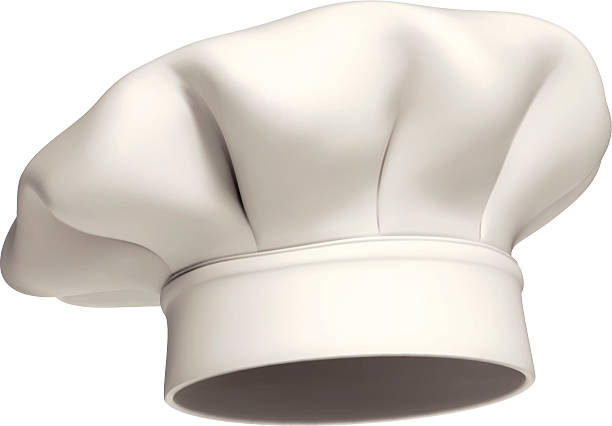 Chef hat vector icon - isolated Photo-realistic vector illustration of a modern white chef hat chef's hat stock illustrations