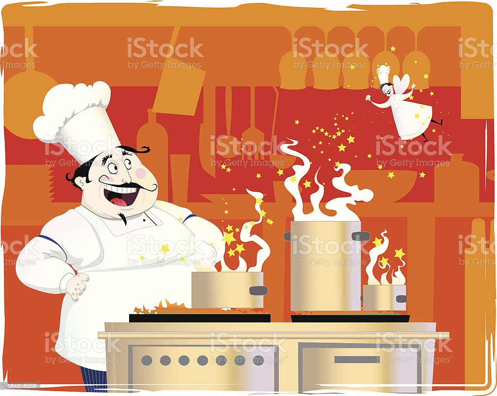 chef in the kitchen royalty-free stock vector art