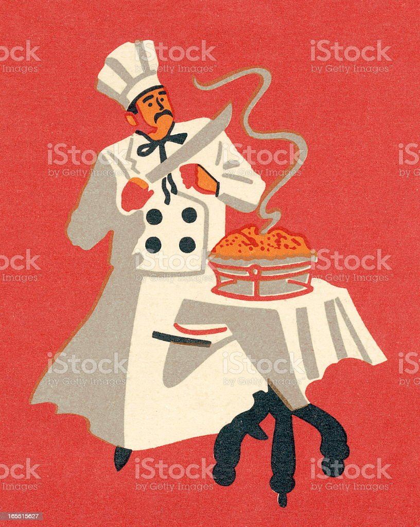 Chef Ready to Serve a Meal vector art illustration