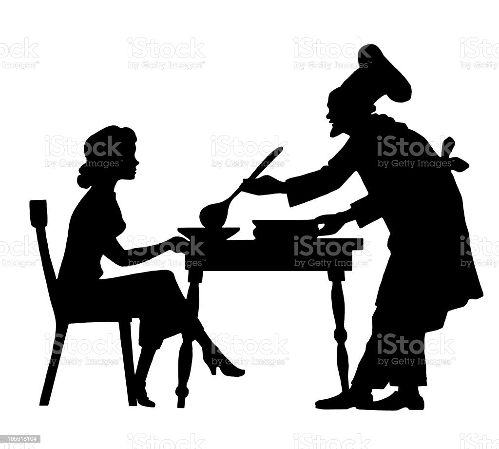 Chef Serving Soup to a Woman royalty-free stock vector art