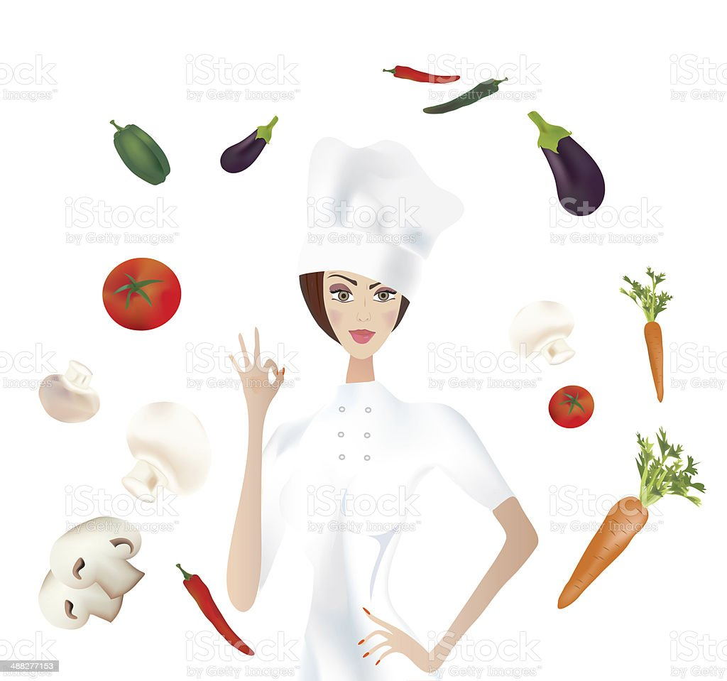 Chef showing Ok vector art illustration