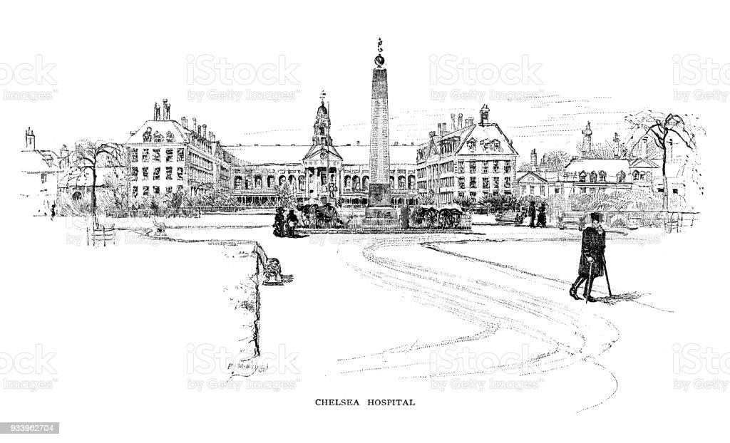 Chelsea Hospital in London vector art illustration