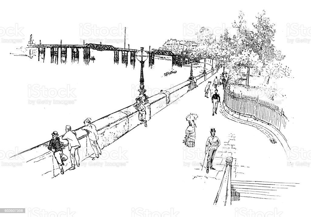 Chelsea in London vector art illustration
