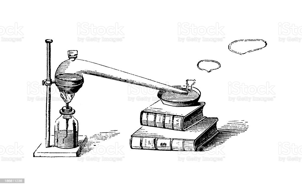 Chemical experiment | Antique Scientific Illustrations royalty-free stock vector art